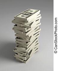 Stack of Dollar Bills - 3D rendered Illustration Stack of...
