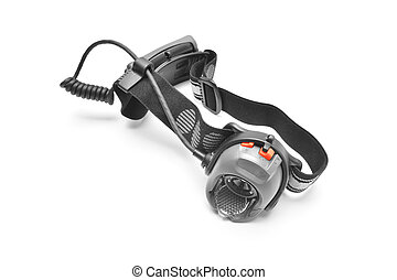 headlamp - outdoor headlamp isolated on white