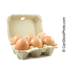 Eggs in paper egg carton on white background - Eggs in paper...
