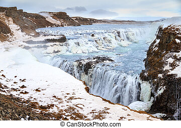 Winter Gullfoss - Beautiful view on the famous Gullfoss...