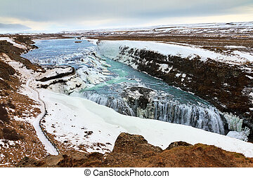 Gullfoss waterfalls - Beautiful view on the famous Gullfoss...