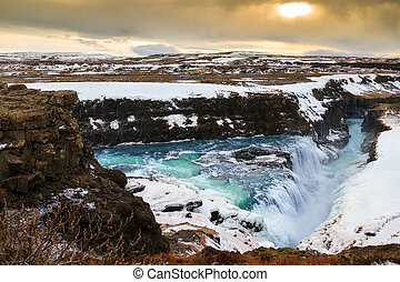 Gullfoss panorama - Beautiful view on the famous Gullfoss...