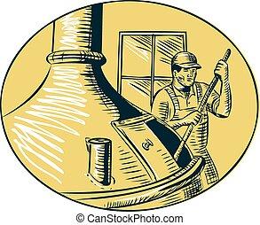 Brewermaster Brewer Brewing Beer Etching - Etching engraving...