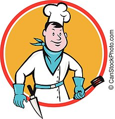 Chef Cook Holding Spatula Knife Circle Cartoon -...