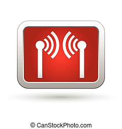 Wireless icon on the red with silver rectangular button...