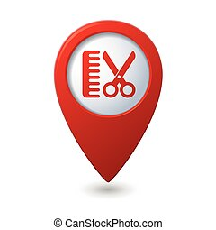 Map pointer with hair salon icon Vector illustration