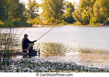 Fishing in the River - Kiev - Ukraine - July 16, 2014: An...