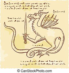 Dragon Holding Sword Etching - Etching engraving handmade...