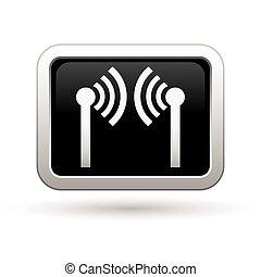 Wireless icon on the - Wireless icon on rectangular button...