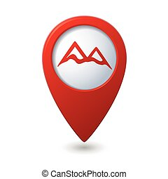 Map pointer with mountain icon. Vector illustration