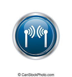 Wireless icon on the rectangular button. Vector illustration...