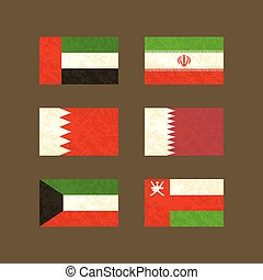 Flags of UAE, Iran, Bahrain, Qatar, Kuwait and Oman Flags...