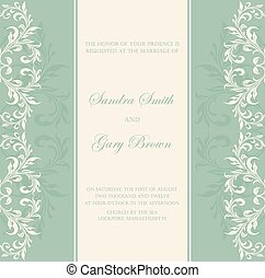 Blue wedding invitation template