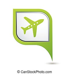 Map pointer with airplane icon - Green map pointer with...