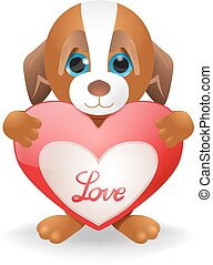 puppy love - Vector Cartoon Puppy Holding Heart, Eps 10...