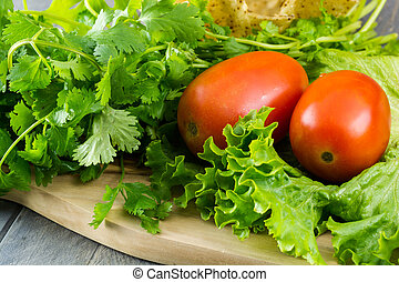 Lettuce,vegetables and tostada bowl. - Close up of...