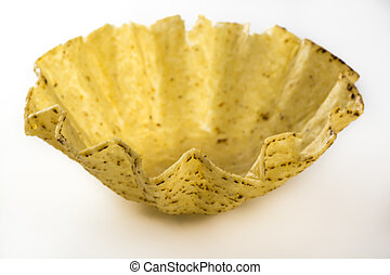 Tostada bowl. - Close up of tostada bowl on a white...