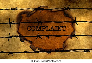 Complaint concept against barbwire