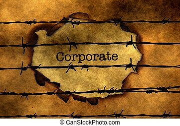 Corporate concept against barbwire