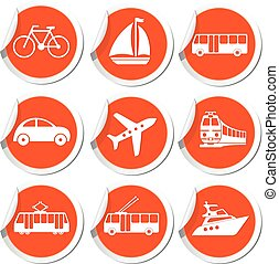 Transportation icons. Vector illustration.