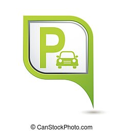 Parking sign on green map pointer, vector illustration.