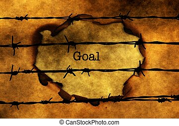 Goal concept against barbwire