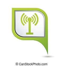 Map pointer with wireless icon - Green map pointer with...