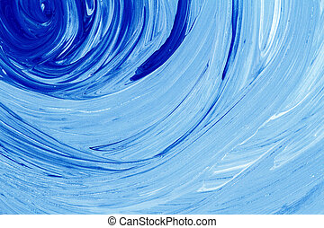 Abstract acrylic painting - Abstract hand painted blue...