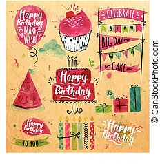 Birthday Set kraft - Set of birthday element drawing...