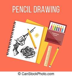 Pencil drawing flat illustration. Flat design concepts for...