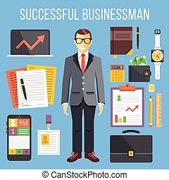 Successful businessman,business set