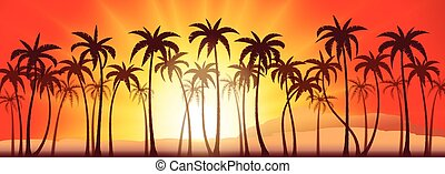 Palms grove sunset - Tropical sunset with palm trees, vector...