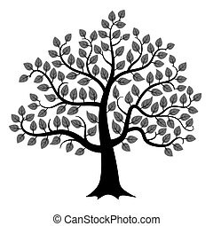 Vector tree silhouette - Black tree silhouette isolated on...