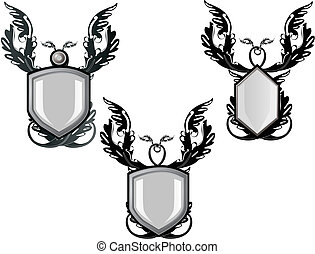 Group of silver decorated emblems or crests, for your text...