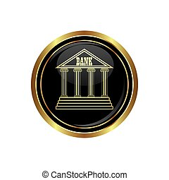 Bank icon on black with gold button. Vector illustration