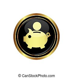Piggy bank icon on black with gold button Vector...