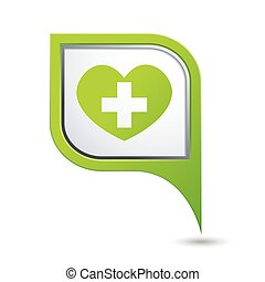 Pointer with medical heart icon