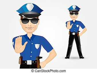 blonde female policewoman cop showing stop gesture -...
