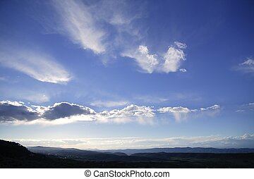 Blue beautiful sky with white clouds view in sunny day,...