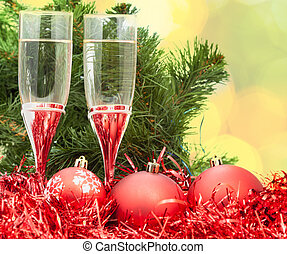 Two glasses with red Xmas decorations and tree 5 - Christmas...