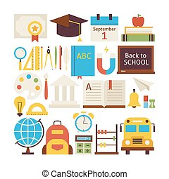 Flat Style Vector Collection of Back to School and Education Objects Isolated over White