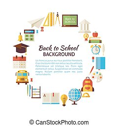 Flat Style Vector Circle Template of Back to School and Education Objects over White