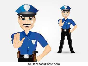 policeman with mustache showing stop gesture - illustration...