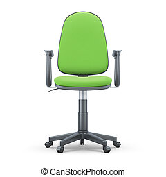 Green Office chair front view - Green Office chair isolated...