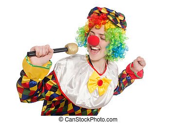 Clown with mic isolated on white background