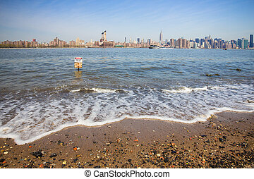 East River NYC - East River view from Brooklyn looking...