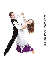 joven, pareja, bailando, encima, blanco