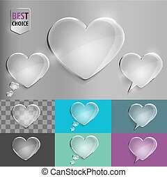Set of glass speech bubble heart icons with soft shadow on gradient background . Vector illustration EPS 10 for web.