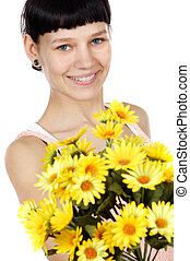 girl with flowers - attractive girl with flowers a over...