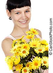 menina, flores